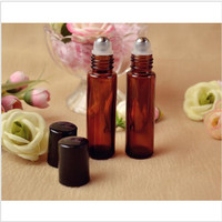 5Pcs 10ml Roll On Glass Bottle Amber Brown Empty Fragrances Essential Perfume Essential Oils Glass Bottle