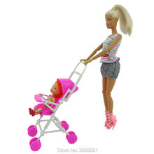 Pink Assembly Baby Kelly Size Stroller Trolley Nursery Furniture Toys Doll Accessories For Barbie Doll Play House Dollhouse Toy