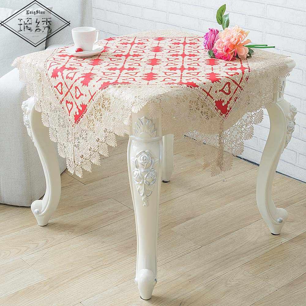 85x85 cm carré rouge coeur Plaid motif Festival décoratif épais coton nappe avec large bordure en dentelle brodée