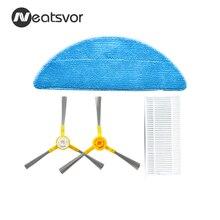 قطع غيار جهاز آلي لتنظيف الأتربة Neatsvor X500/X600 ، فرشاة جانبية * 1 زوج + HEPA * 1 قطعة + ممسحة * 1 قطعة