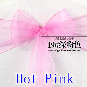 Wedding Chair Sashes Shimmer Organza Crystal Sash Bow Tie Hot Pink Colour For Banquet Party Decoration In From Home
