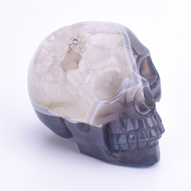3.7 '' Natural Agate Geode Skull Carved Gemstone Crafts Miniature Figurines Crystal Quartz Sculpture Home Decoration Accessories