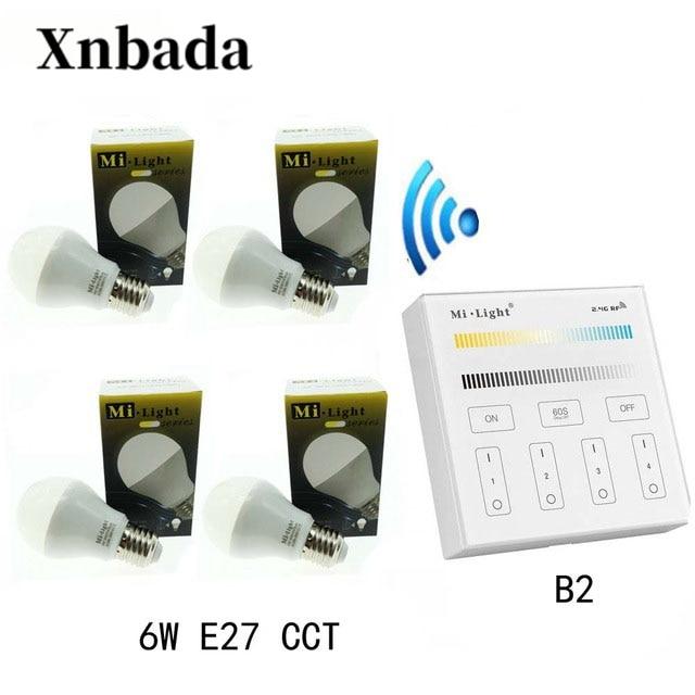 MiLight 6W Led Lamp E27 CCT(CW/WW) Led bulb+ B2(3V) Panel Remote Led Spotlight light Dimmable Led light AC85 265V Free shipping