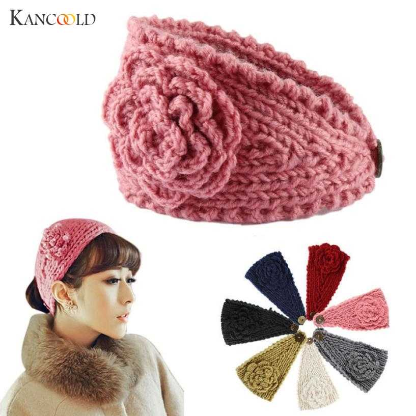 headband Headwear hair bands for girls Fashion  women Crochet Headband Knit Hairband Flower Winter Ear Warmer Head wrap c2MAR28