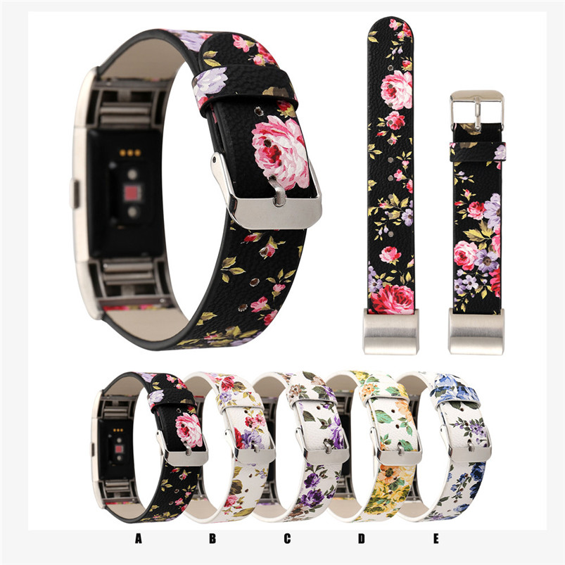 2017 Hot Sale Fashion High Quality Pattern Leather Strap Replacement Watch Band For For Fitbit Charge 2 hot sale open front geometry pattern batwing winter loose cloak coat poncho cape for women