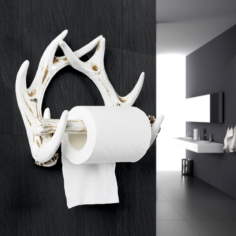 Bathroom Towel Creative European Bathroom Toilet Roll Holder Paper Cassette Holder Resin Decoration Antlers Deer Paper Holders