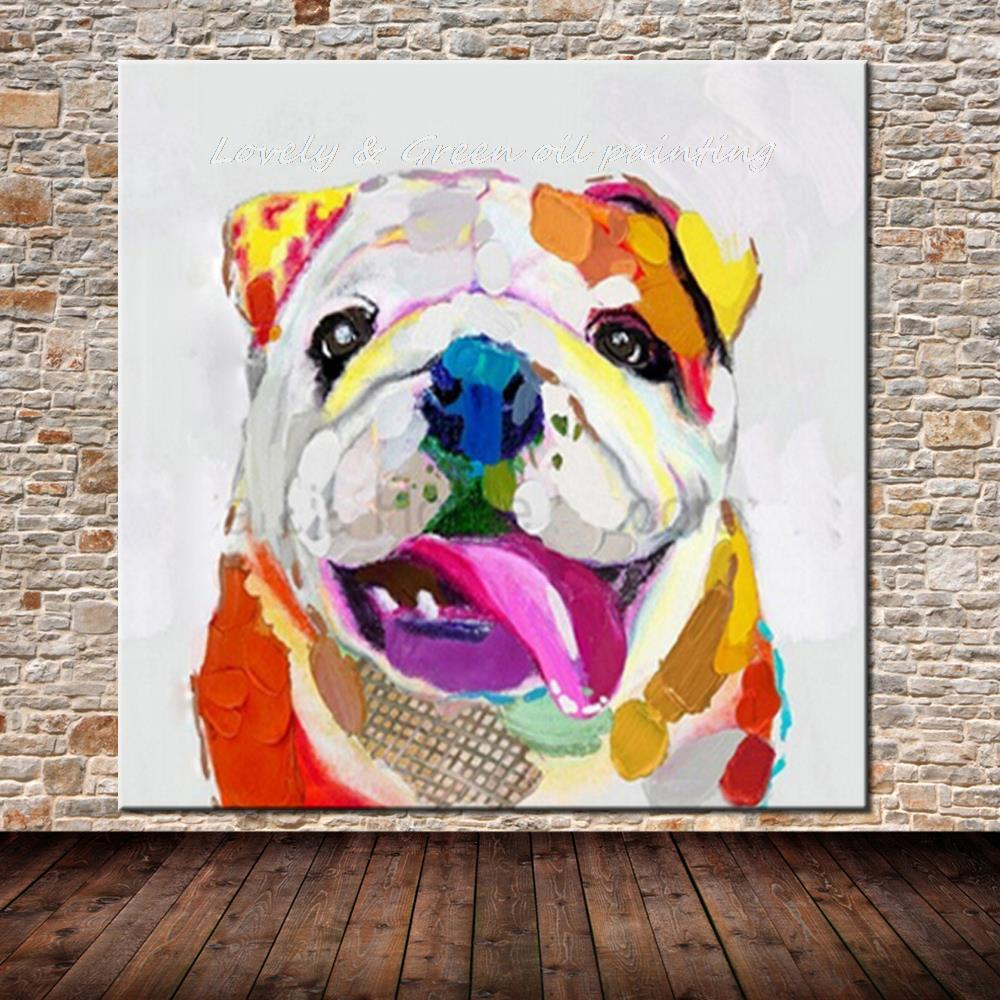 100 hand painted modern art dog oil painting on canvas for Abstract animal paintings