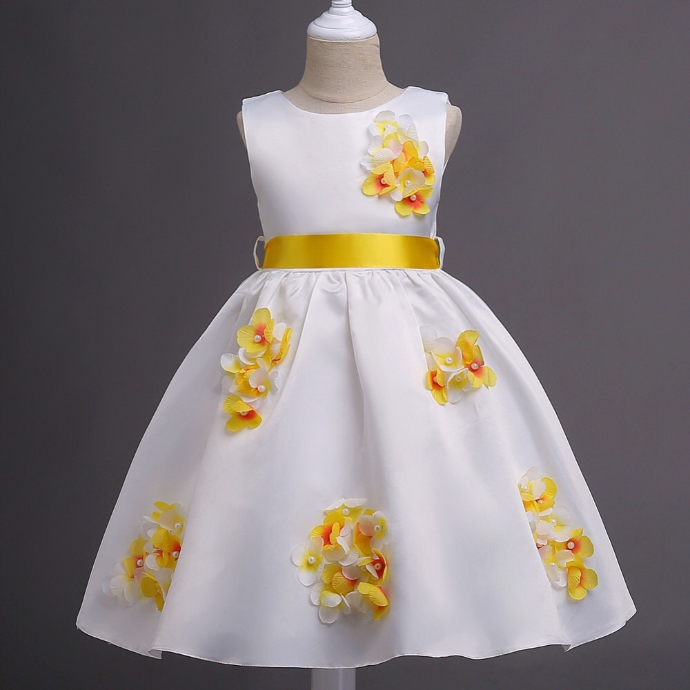 Girls Appliqued Dress Mesh Pearls Children Wedding Party Dresses Kids Evening Ball Gowns Formal Baby Frocks Clothes for Girl цены