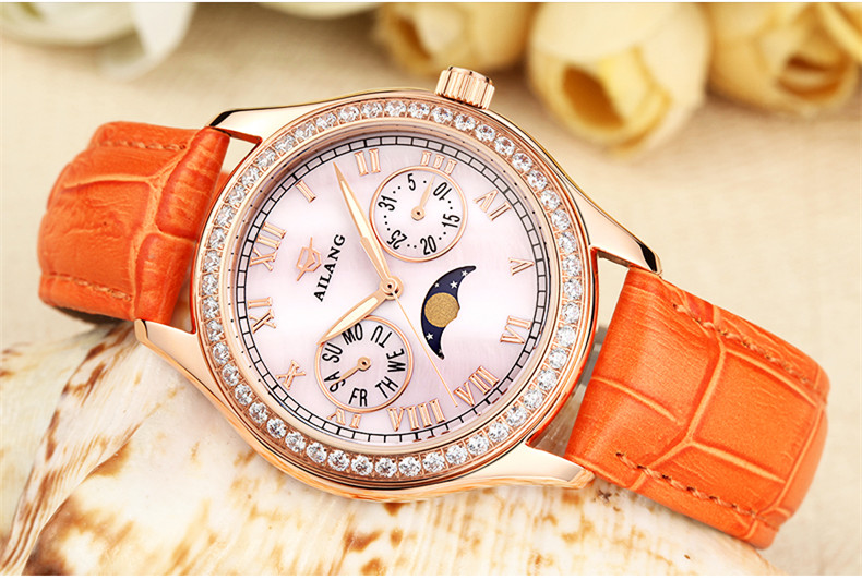 AILANG Multi-functional Quartz Watch Women Elegant Crystals Watches Waterproof Real Leather Wrist watch Moon Phase Relojes A096