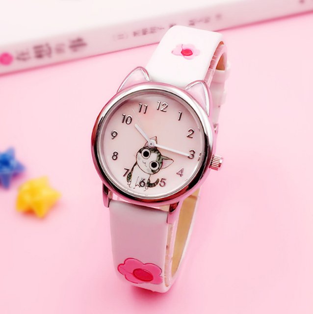 Cute Cheese Cat Pattern Kids Watch Quartz Analog Child Watches For Boys Girls St