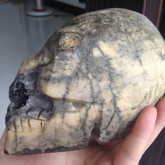 1490g Beautiful Natural Unique Amethyst Geode Cluster Agate Stone Crystal Skulls Carved Specimen without BRAIN!!!