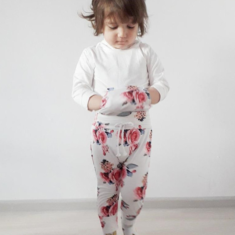 Floral Baby Girl Clothes Newborn Clothes 0-2Years 3Pcs Rose Print Tops+Soft Pant+Hair Ring Clothing For Baby Fast Shipping D30