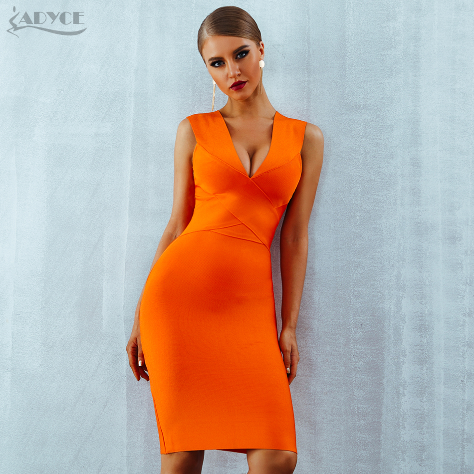 ADYCE Summer Women Bandage Dress Vestidos 2019 Orange Red Tank Sexy Deep V Neck Sleeveless Bodycon Celebrity Runway Party Dress