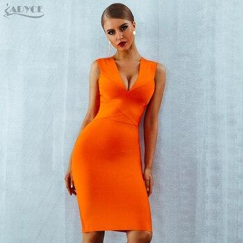 7e76eb090 ADYCE Verano mujeres vendaje vestido Vestidos Verano 2019 naranja rojo  tanque Sexy profundo cuello en V sin mangas Bodycon celebridad vestido de  fiesta