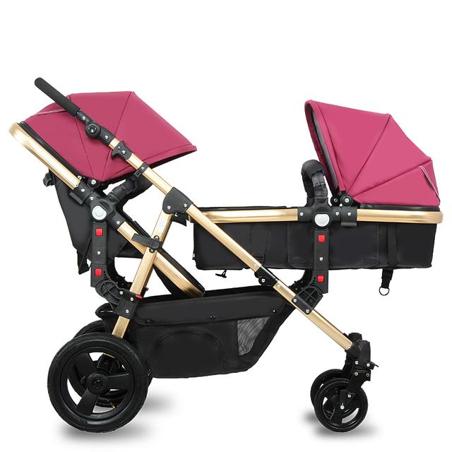 Venda quente Carrinho De Bebê Gêmeos Gêmeos Carrinho De Bebê Pode Sentar Mentindo alta Paisagem Folding Segurança À Prova de Choque Carrinho De Bebê 3 em 1 C01