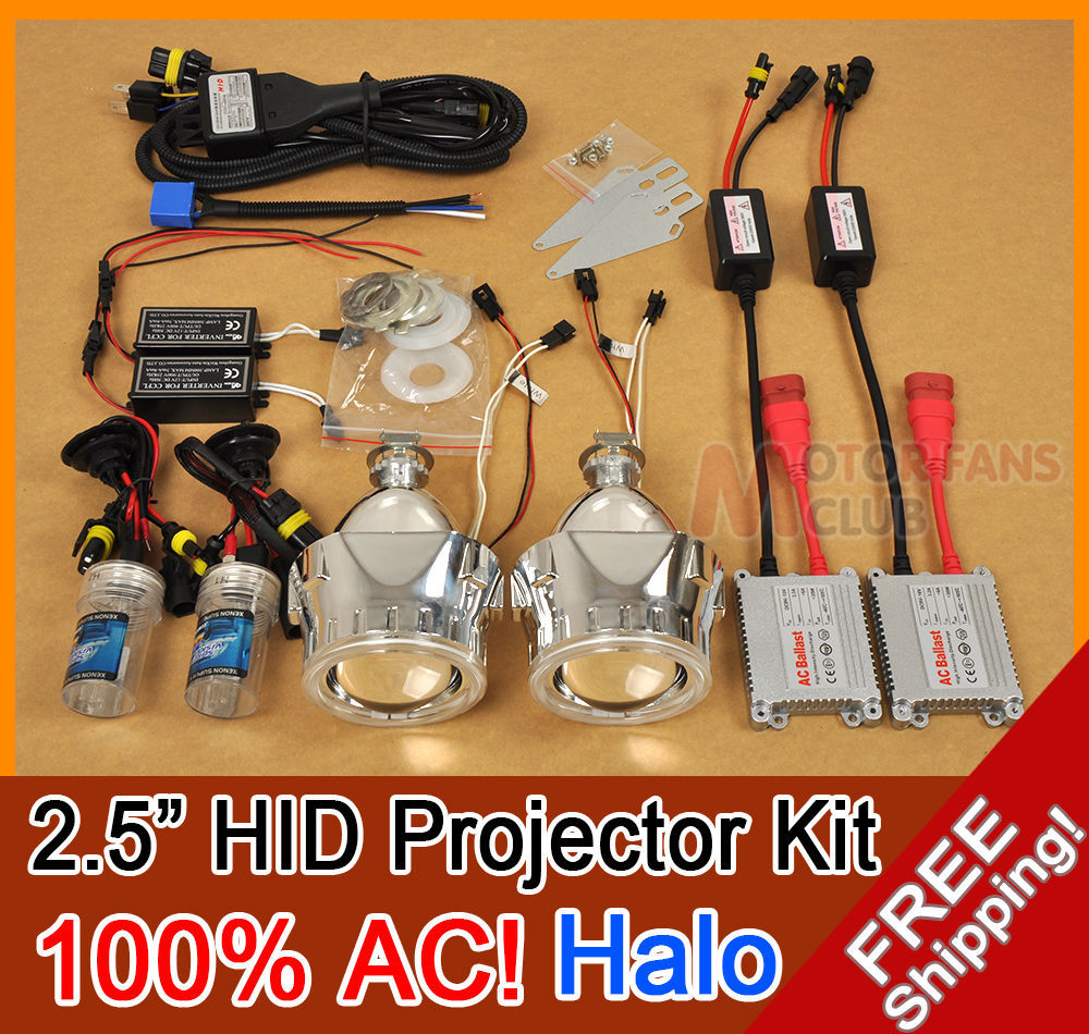 2.5 inches HID Bi-xenon Projector Lens headlight Full Kit with COB angel eyes Car Styling H1H4 H7 6000k Angel Eye Halo AC/35W