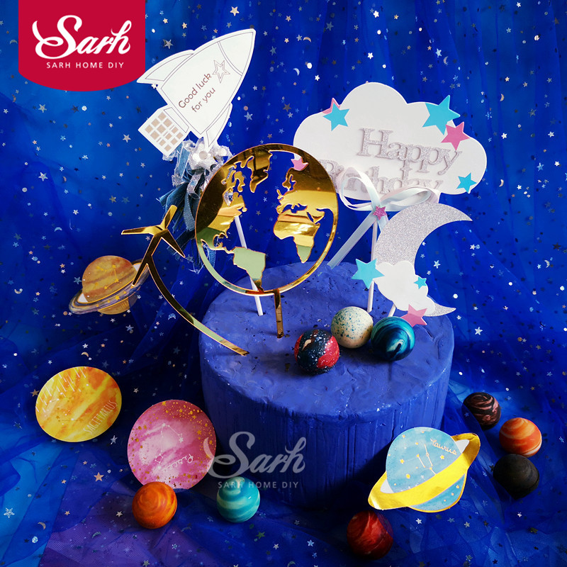 Gold White Earth Airplane Star Cloud Spaceship Cake Topper for Party Decoration Dessert lovely Gifts image