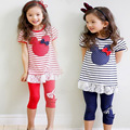 2016 New Girl's clothing sets baby girl set Summer Children's casual cotton bow stripe t-shirts+legging pants set