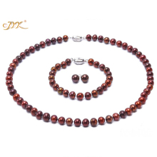 JYX Jewelry Sets Necklace Sets Classic 7-8mm Coffee Cultured Freshwater Pearl Necklace Bracelet Earrings -Party Wedding-RPS120-5