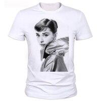 Famous Star Audrey Hepburn Short Sleeve O Neck T Shirts Casual T Shirt Comfortable Tees