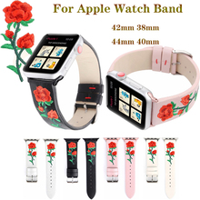 Embroidery Rose Bracelet strap for apple watchband 4 44/40mm Leather men/women watch accessories iwatch Series 3 2 1 42/38mm