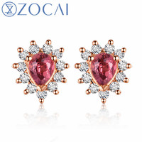 ZOCAI Design Earrings Certificated 18K rose gold 0.32ct Rubellite with 0.17ct diamond engagement earrings E00759 without customs