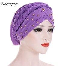 Helisopus女性イスラム教徒のターバン 2020 春のファッションソリッドカラー綿バンダナビーズ編組headwraps女性ヘアアクセサリー