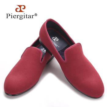 New arrival red and blue color men canvas shoes British style men casual smoking slippers Party and Banquet male loafers