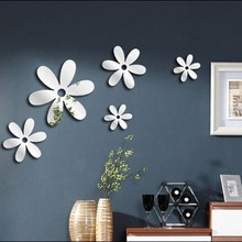 3D Openwork Flowers Decoration Wall Stickers Fridge Home Mirror Stickers Wall Sticker vinilos decorativos para paredes