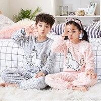 Girls Unicorn Pajamas Kids Pajama Set Licorne Pyjamas Kids Pijama Unicornio Boys Bathrobe Winter Warm Flannel Sleepwear 8 18Y