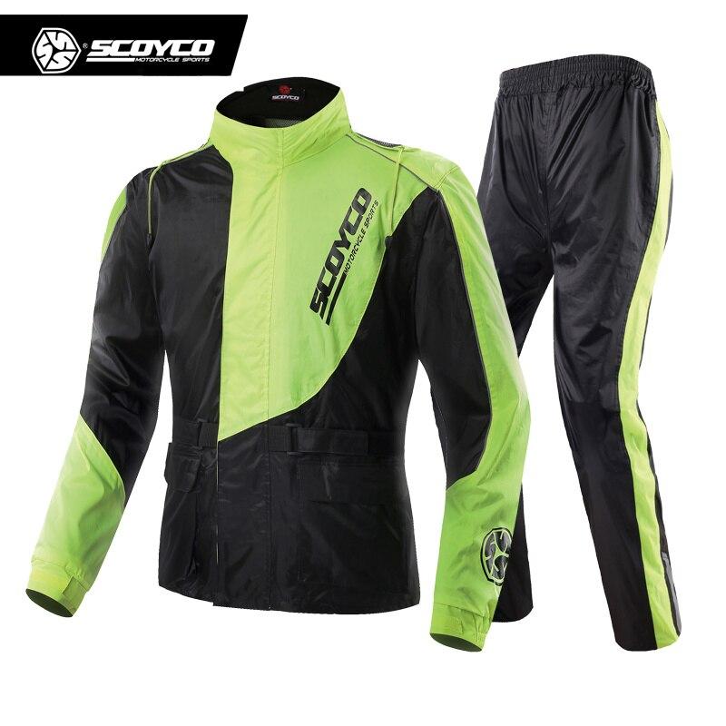 SCOYCO Waterproof Riancoat Suit Reflective Motorcycle Clothing Protective Jacket Waterproof Moto Jacket Motorcycle Pants