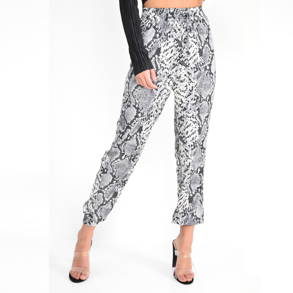 New Women Animal Pattern Trouser Casual Snake Skin Printed Harem Pants Elastic pleated female casual ankle length trousers 8