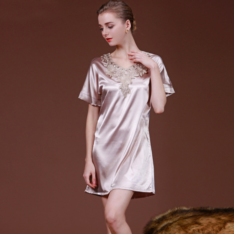 NG055 Satin Silk Pyjama Satin Silk Women   Nightgown     Sleepshirt   Sexy Lace V-neck Nightwear Summer Mini Night Gown Brand Lingerie
