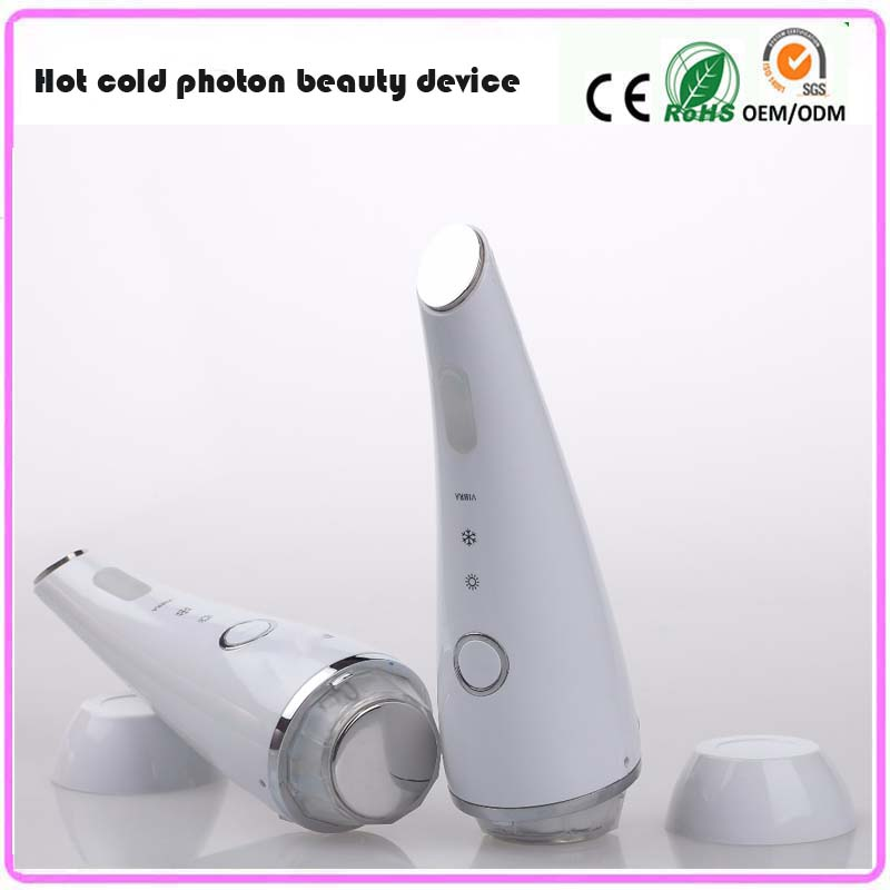 High Frequency Vibrating Hot Cold Facial Beauty Hammer Red Blue Photon Light Wrinkle Acne Ttreatment Eye Skin Tightening Machine