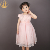 Nimble Lolita Style Baby Girls Dress Flower Pearls Mid Calf O Neck Princess Dress Beige Pink