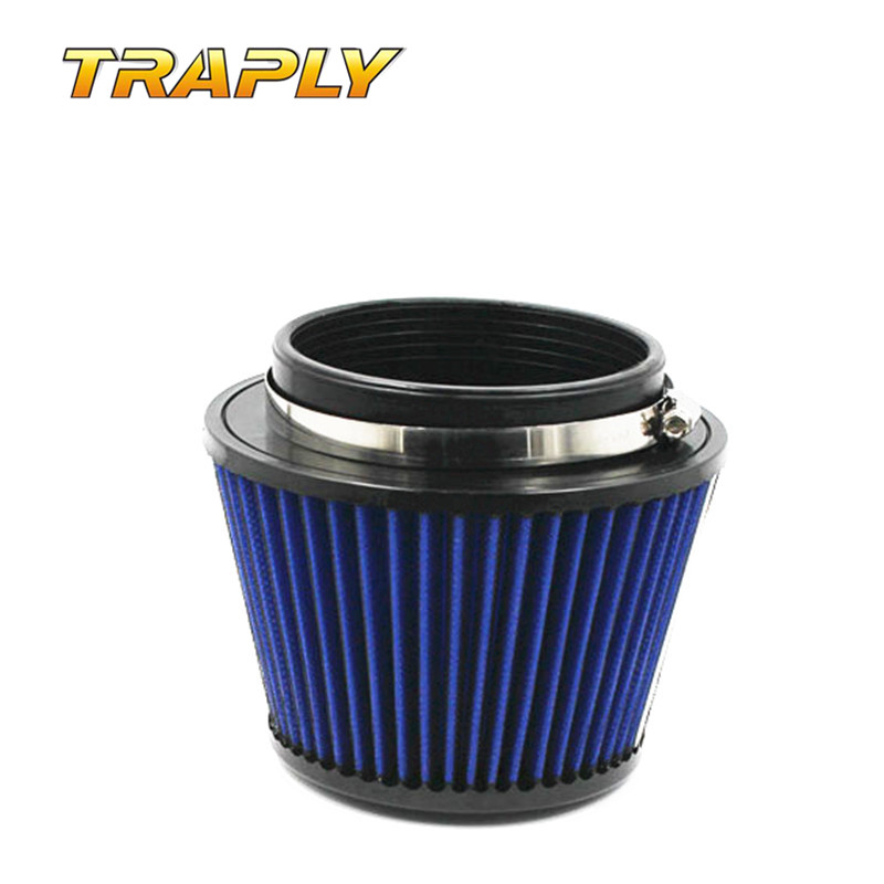 Traply - Free Shipping Universal Round Tapered Cold <font><b>Air</b></font> Intakes Filters <font><b>Systems</b></font> Blue Aluminum Racing Car Carbon <font><b>Air</b></font> Filter