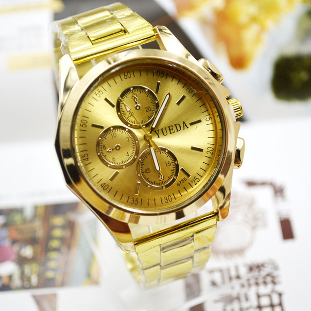 Jhlf New Large Surface Gold Plate Steel Band Men's Watch Fashion Student Watches