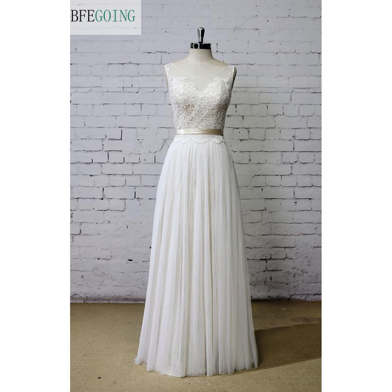 Tulle Scoop Sleeveless A-line Wedding Dress Floor-Length  Lace V-Back Real /Original Photos Custom Made