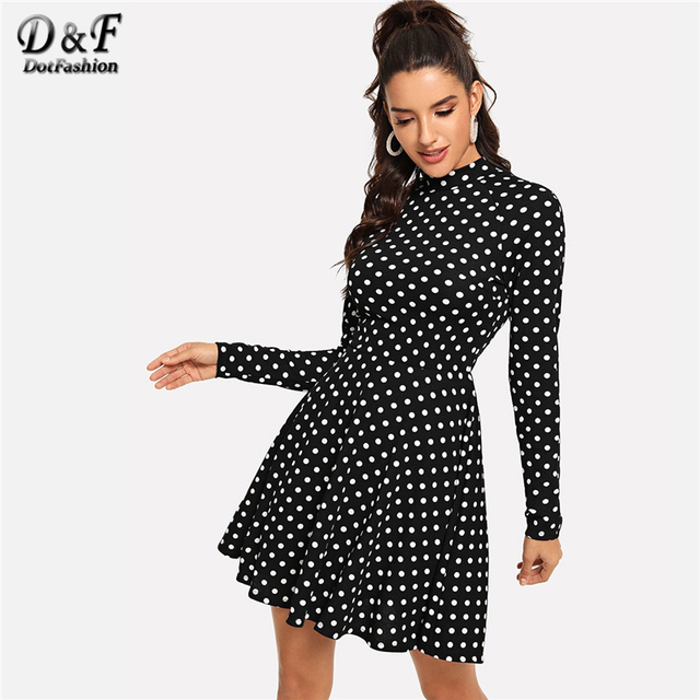 8a20867a427 Dotfashion Black And White Mock Neck Polka Dot Formal Dress Women Elegant  Autumn Casual Long Sleeve