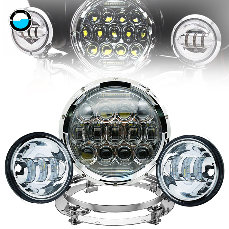 7Inch 75W LED Headlight Daymaker & 4.5 inch fog lights drl Lamps with 7 Adapter bracket Ring For Harley Davidsion Motorcycle. 7inch motorcycle daymaker replacement led headlight