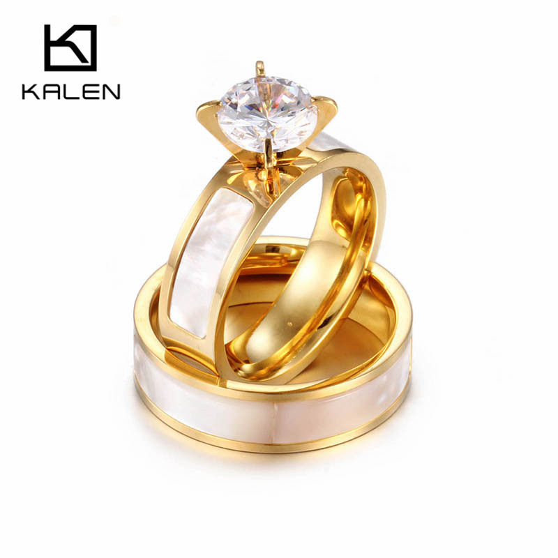 Kalen Stainless Steel Emas Pasangan Wedding Rings Shell & Zircon Mewah Janji Engagement Rings Wanita Fashion Jewelry Rings Hadiah
