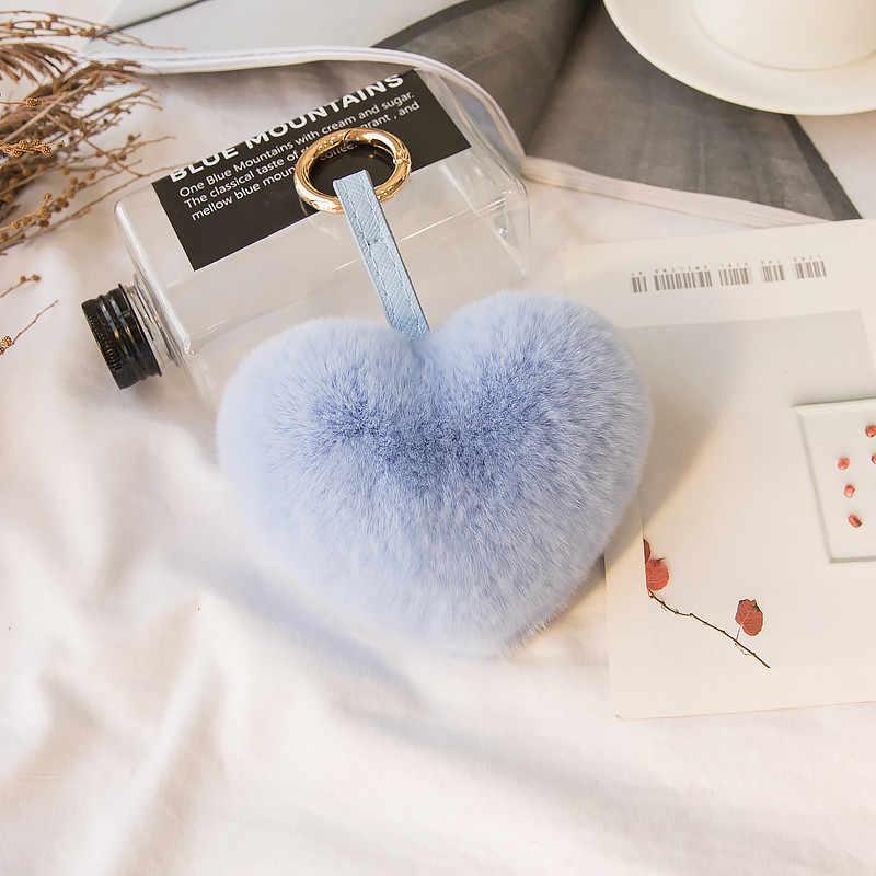 Saco bonito Heart-Shaped Pingente Acessórios de Moda Imitação de Pele de Coelho Pompom Fofo Fêmea Saco Bolsa Pingente De Acessórios.