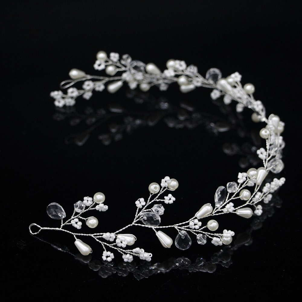 New Fashion Pearl Flower Vine Tiara Bride Head Chain Bridal Headbands Hair Ornaments Wedding Hair Accessories 4
