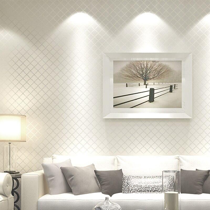 Solid Color Lattice Non-woven Wallpaper Embossed Living Room Sofa TV Background Wall Modern Wallpaper For Bedroom Walls Roll 3D стоимость