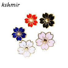 kshmir The new 2017 sweet cherry blossom brooch Drip flower collar pin badges Clothing bags accessories Female accessories