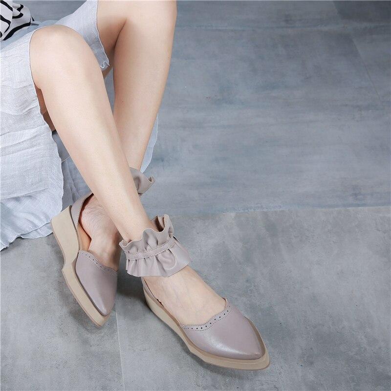 Tyawkiho Genuine Leather Women Sandal Flower 4CM Heels Summer Shoes Retro Handmade Leather Sandals Wedge Heels
