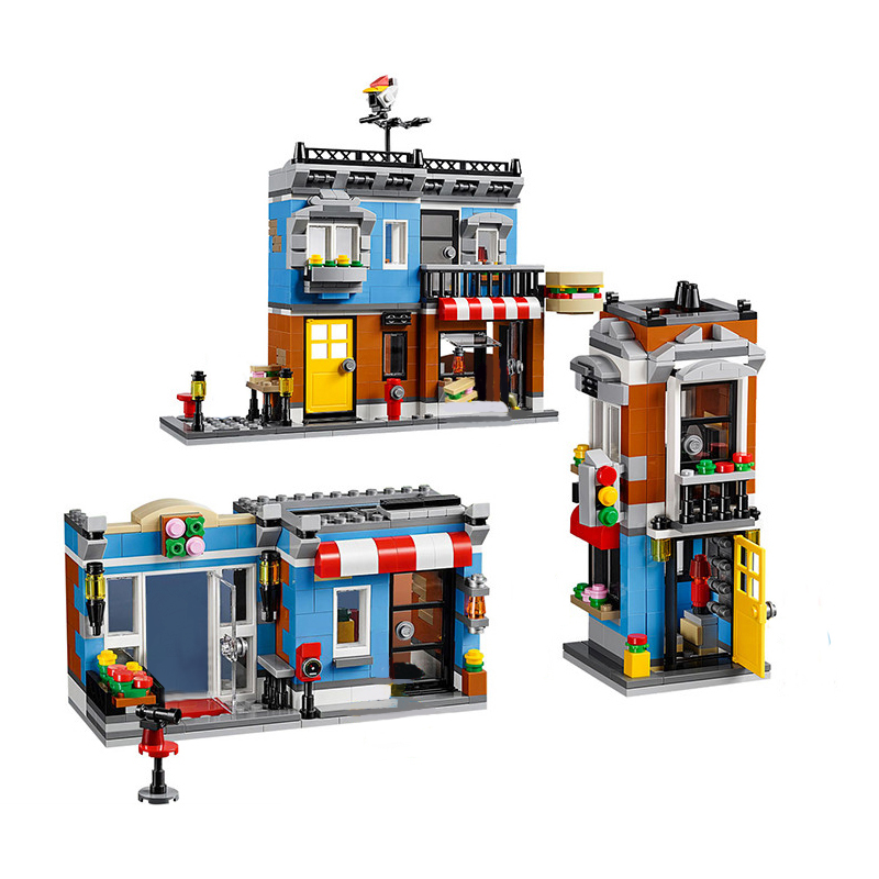 24007 City Creator 3 in 1 Corner Deli Sandwich Building Blocks Bricks Kids Classic Toys For Children Marvel Compatible Legoings gonlei 3117 city creator 3 in 1 vacation getaways building blocks bricks kids model toys marvel compatible with