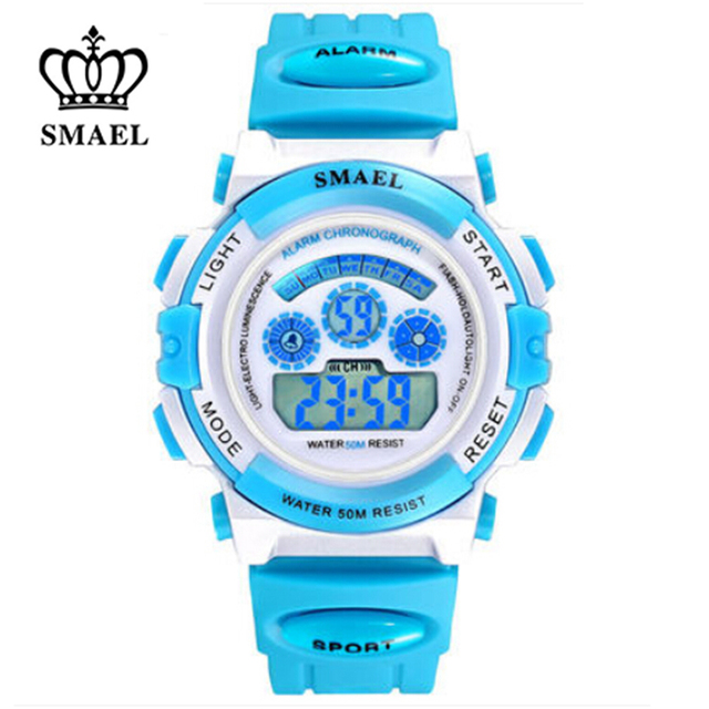 SMAEL Rainbow Jelly Digital Wristwatches Cool Kids Sports Waterproof 50m Sports Diving Watches Swimming Children Gift WS0704b