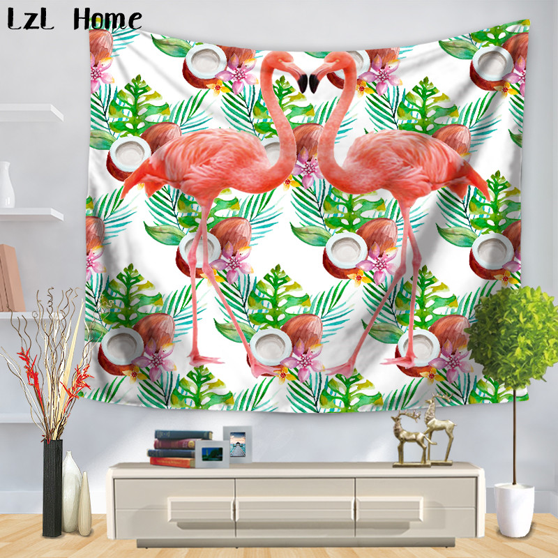 LzL Home Elegant Grus Japonensis Printed Tapestry Tropical Animal Wall Hanging Tapestry Beach Throw Towel Yoga Mat Table Cover