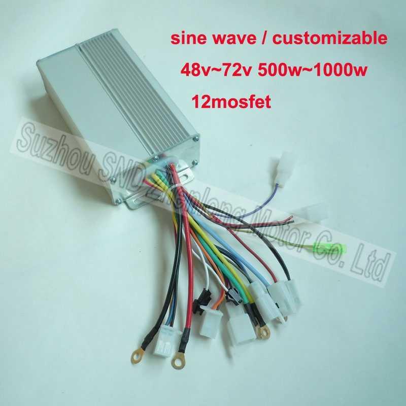 Elektrische bike controller sinus 48 v 800 watt 1000 watt 12 mosfet 48-72 v breite spannung/ DC hub motor e-bike controller G-K105